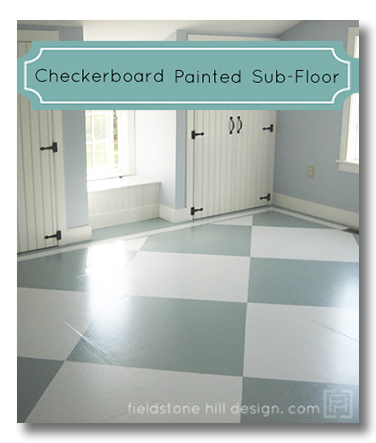 checker board painted sub-floor