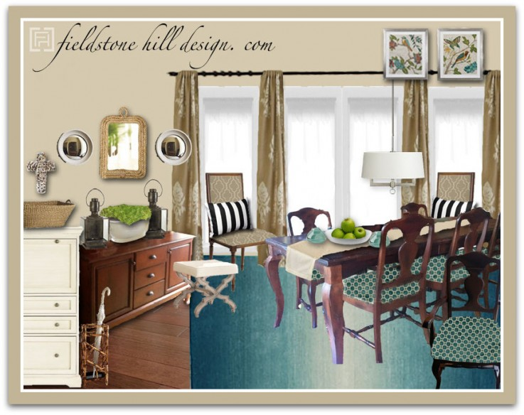 Design Board A Dining Room With Peacock Inspiration Fieldstone Hill Design