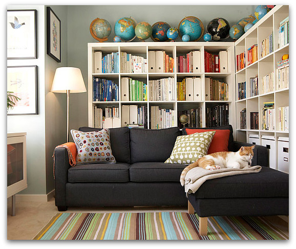 Bookcases behind a sofa home design elements Where to put a bookcase in a room