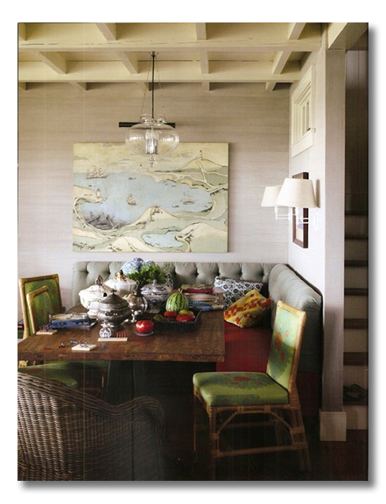 ditto  a room I love  dining banquette  Fieldstone Hill Design
