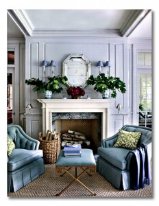 A gorgeous vignette to sit by the fire - Find out how to ditto this look @ FieldstoneHillDesign.com