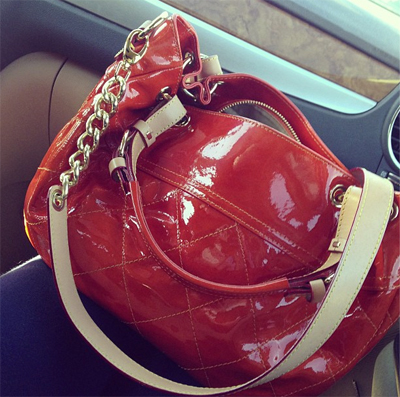 that orange patent leather bag