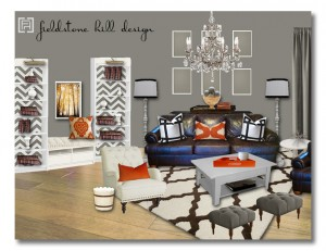 Living Room Design Board- a neutral room with flexible color punch - design by Fieldstone Hill Design