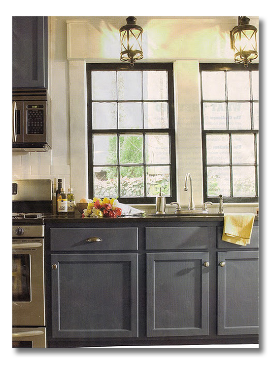 Dark cabinets blue gray fieldstone hill design for Dark gray kitchen cabinets