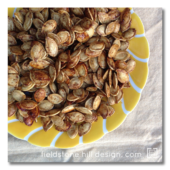 Toasted Pumpkin Seeds with Brown Sugar and Cayenne by Fieldstone Hill Design