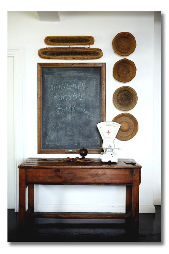 basket bowls and chalkboard