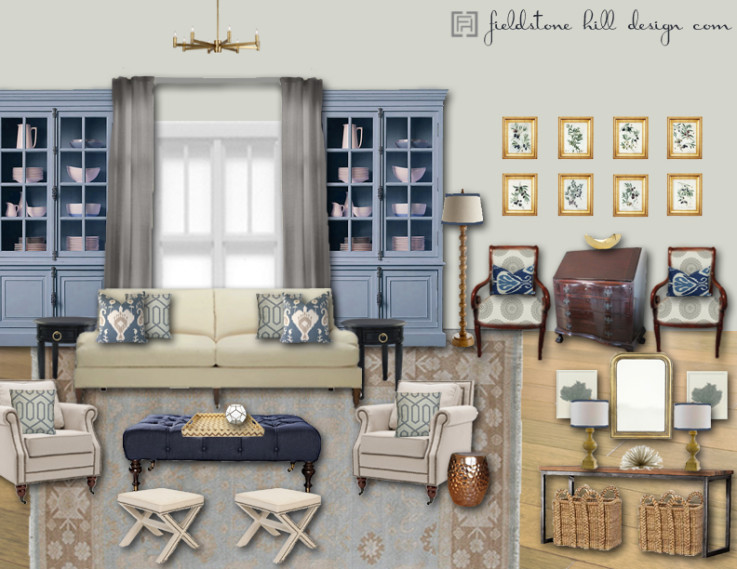 Blue and Gray Family Room Design Board by Darlene Weir of Fieldstone Hill Design