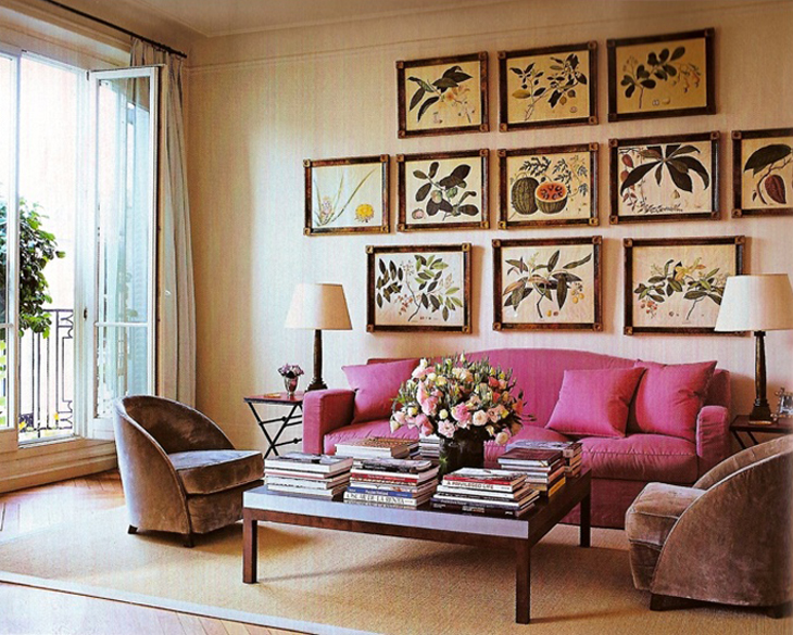 Lee Radziwills Paris Apartment ditto, botanical art and a pop of color via @fieldstonehill