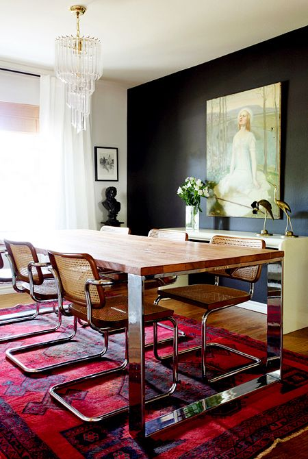 Black Walls in Dining Room