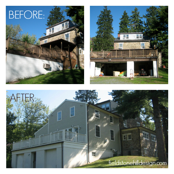 Back of Fieldstone Hill before and after