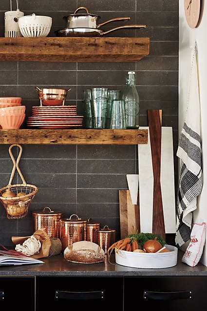 10 ways to bring copper into your kitchen via @fieldstonehill - cannisters in kitchen