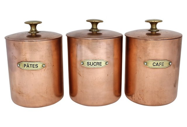 10 ways to use copper in your kitchen via @fieldstonehill - canisters french