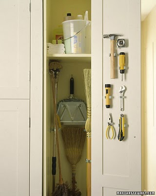 This Closet Also Has Beautiful Colors, And Everything In Its Place. I Love  The Idea Of Keeping Tools Handy Too. {Martha Stewart}
