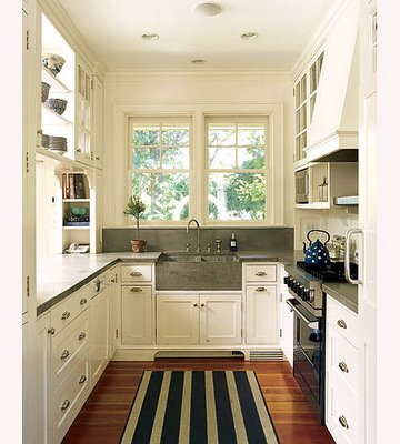 Ditto a galley kitchen that breathes big fieldstone for Large galley kitchen designs