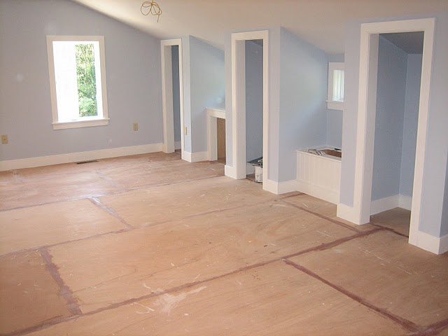 Boys room painted subfloor tutorial painted subfloor for Painting plywood floors ideas
